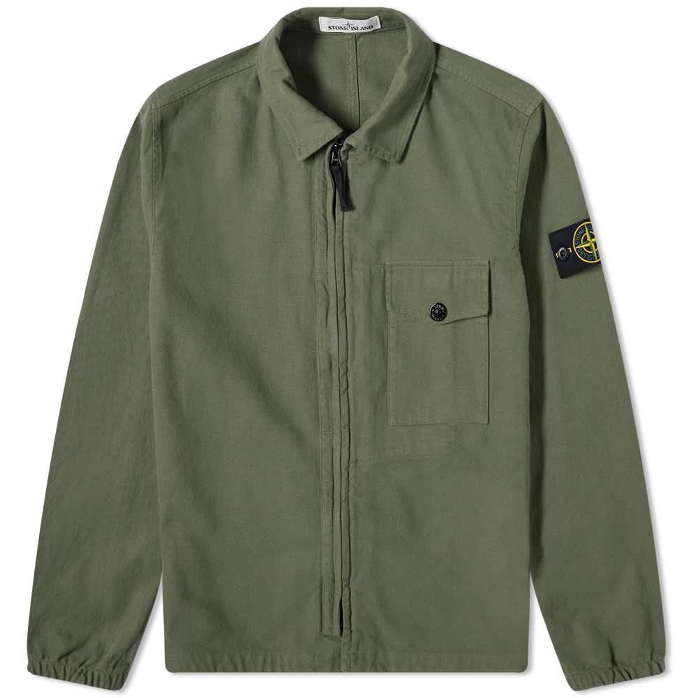 Stone Island Garment Dyed Zip Shirt Overshirt - Sage