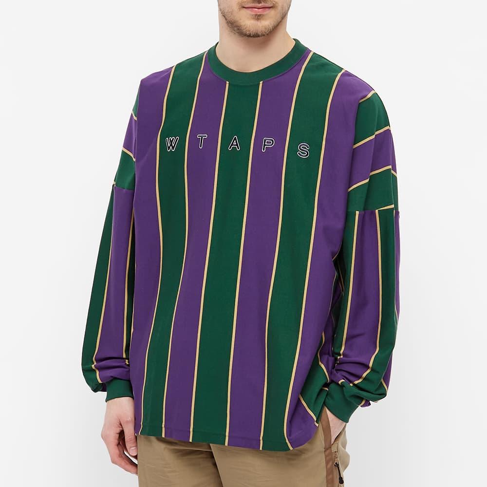 WTAPS Long Sleeve Peace Virtical Stripe Tee - Purple