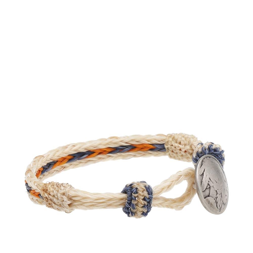 Chamula Indian Concho Bracelet - Ecru, Yellow & Blue