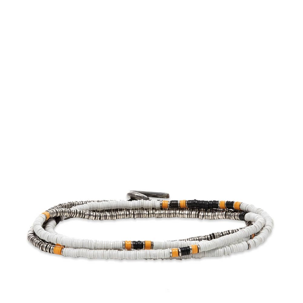 M. Cohen Mini Disc 4 Wrap White Bead Bracelet - White
