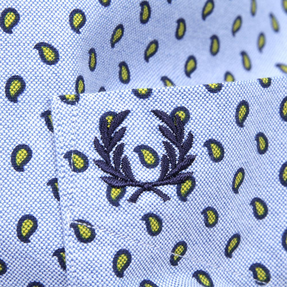 Fred Perry Paisley Print Oxford Shirt - Light Smoke