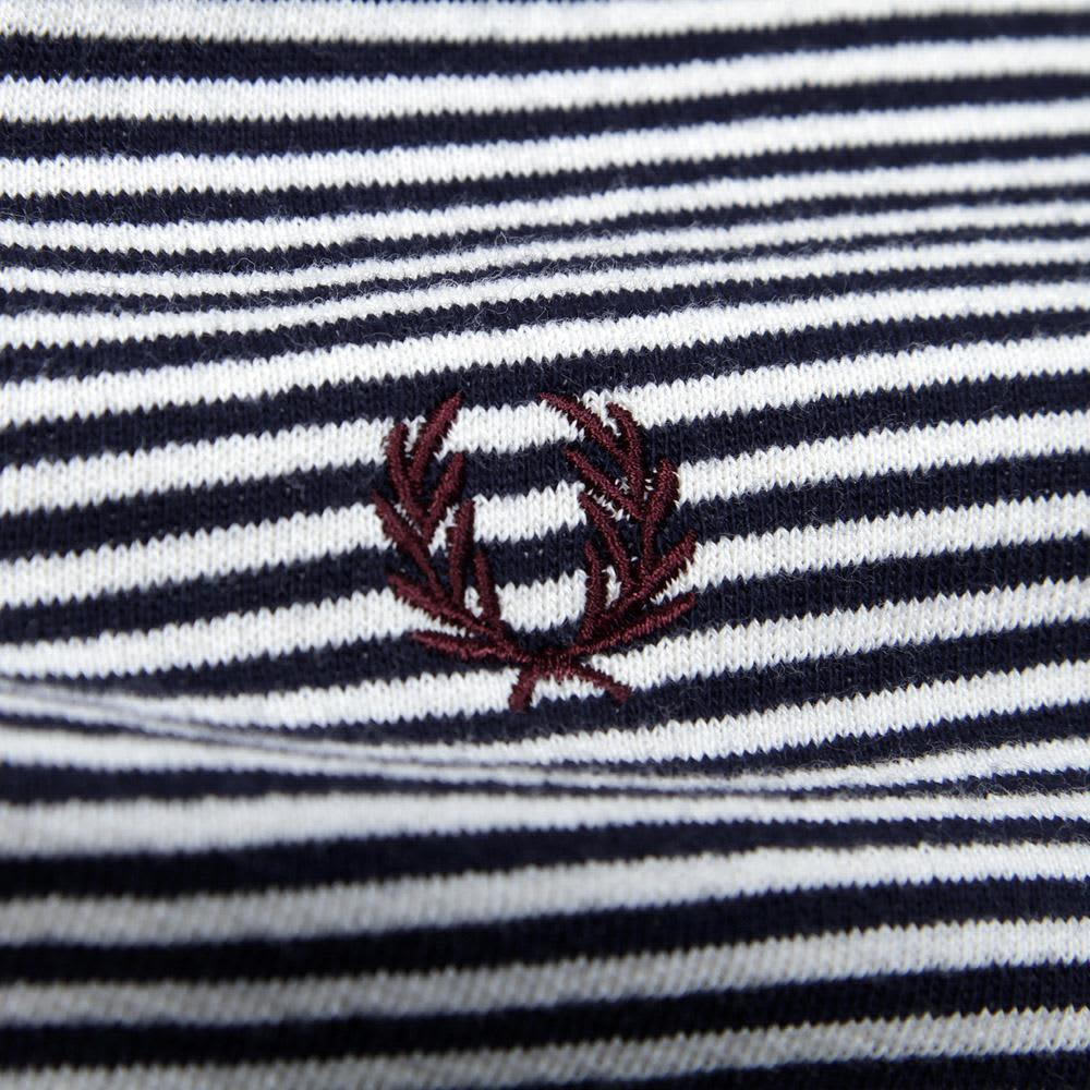 Fred Perry Striped Crew Neck Sweat - Dark Carbon