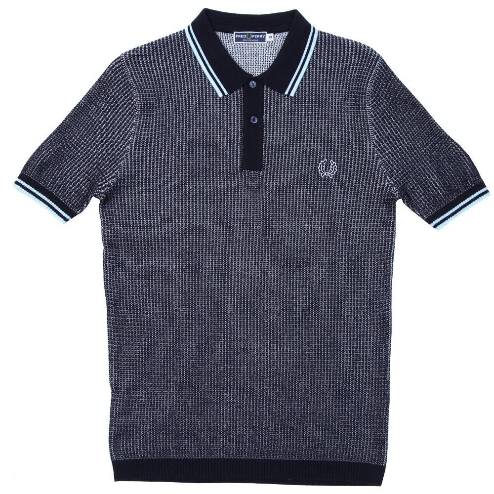 Fred Perry Textured Knitted Polo - Navy & Ice