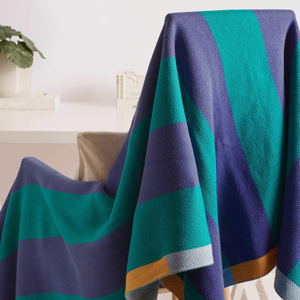 Dusen Dusen Knit Throw - Green & Blue Stripe