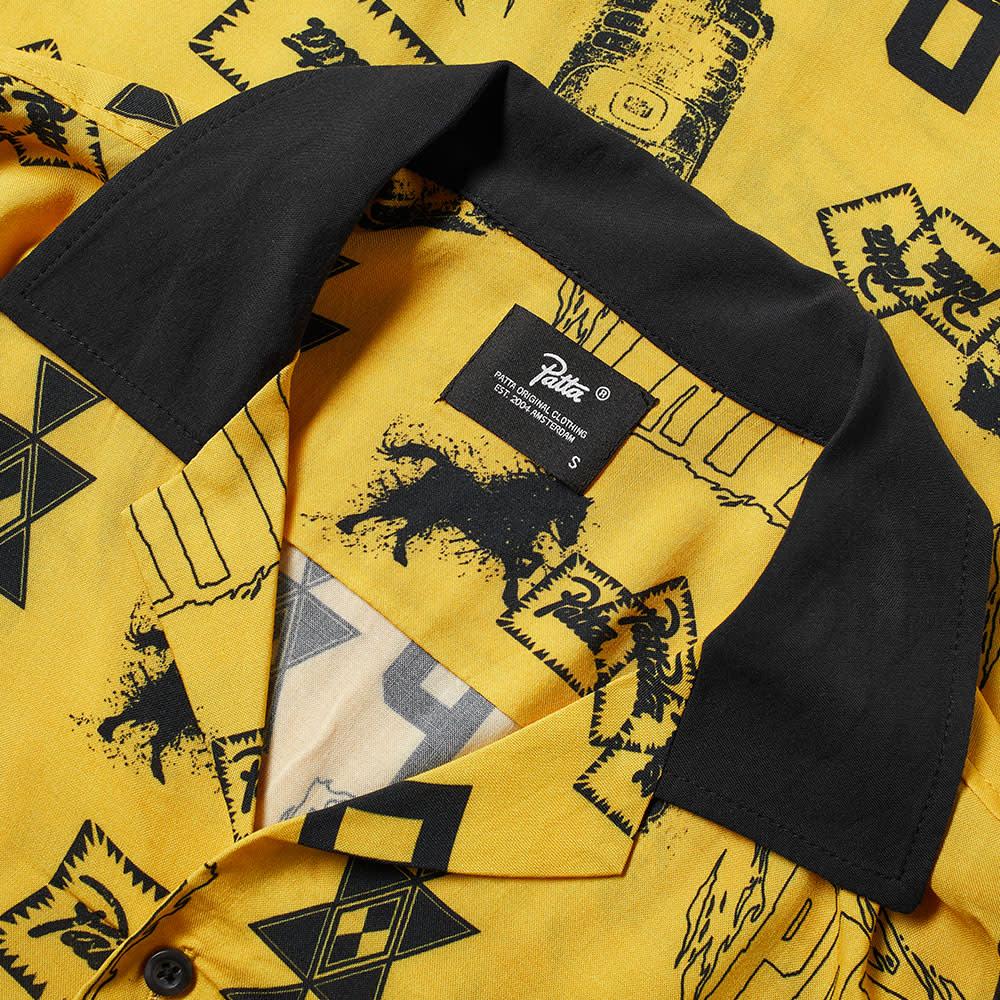 Patta Short Sleeve Stamp Shirt Spectra Yellow & Black