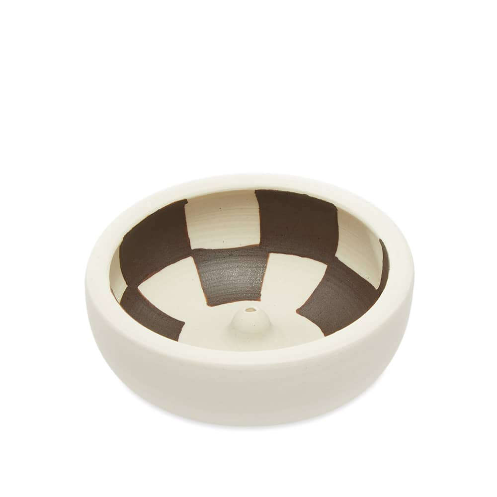 Mellow Ceramics Incense Bowl - Small - Painted Check - Inside