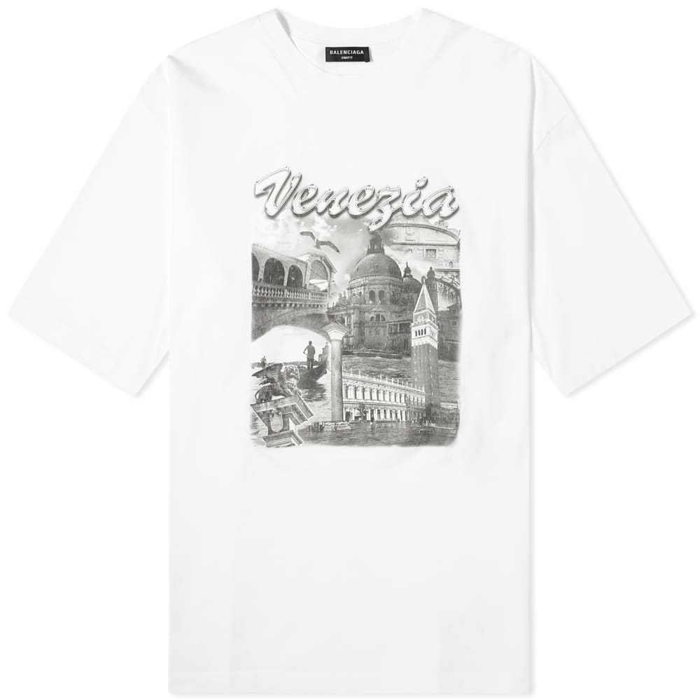 Balenciaga Venezia Print Oversized Tee - White & Grey