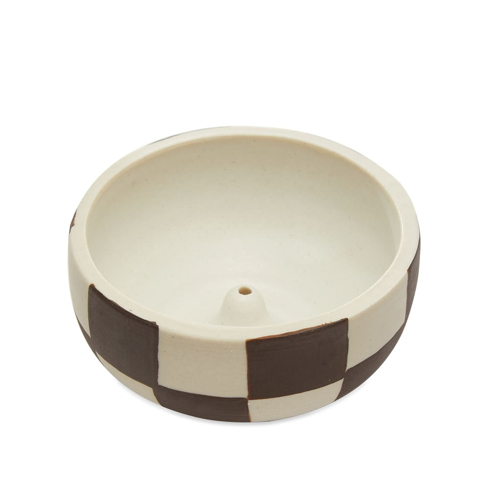 Mellow Ceramics Incense Bowl - Small - Painted Check - Outside