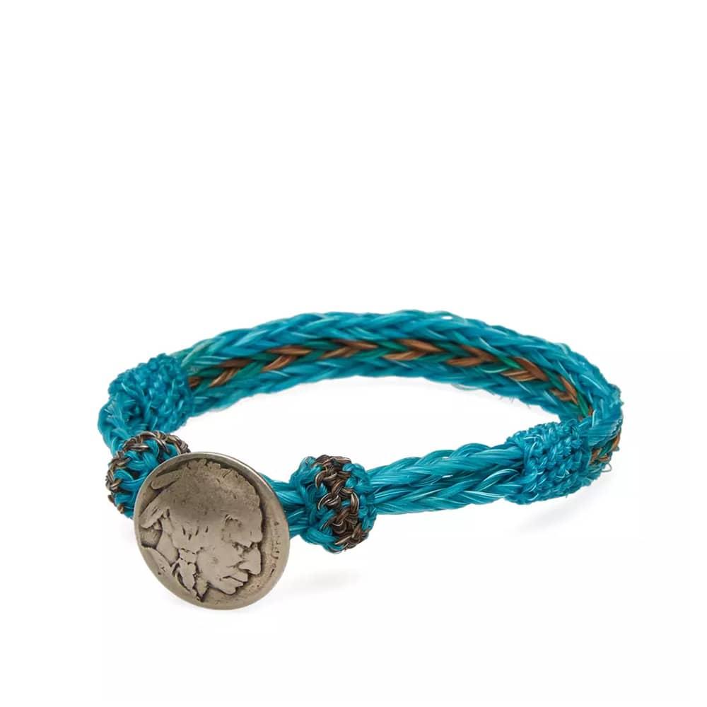 Chamula Indian Concho Bracelet - Blue & Olive