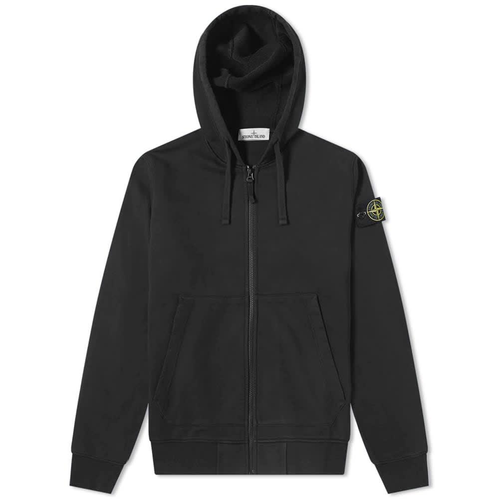 Stone Island Garment Dye Zip Through Hoody - Black