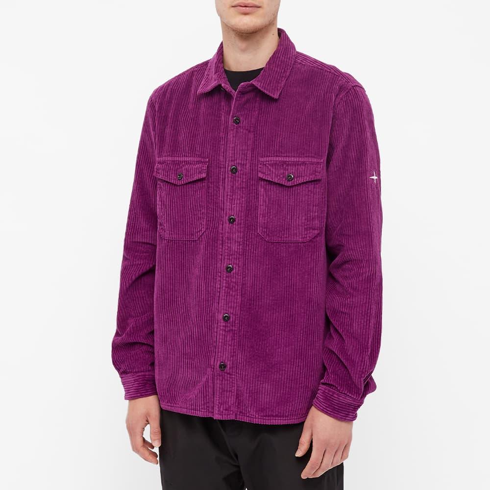 Stone Island Compass Sleeve Cord Shirt - Magenta