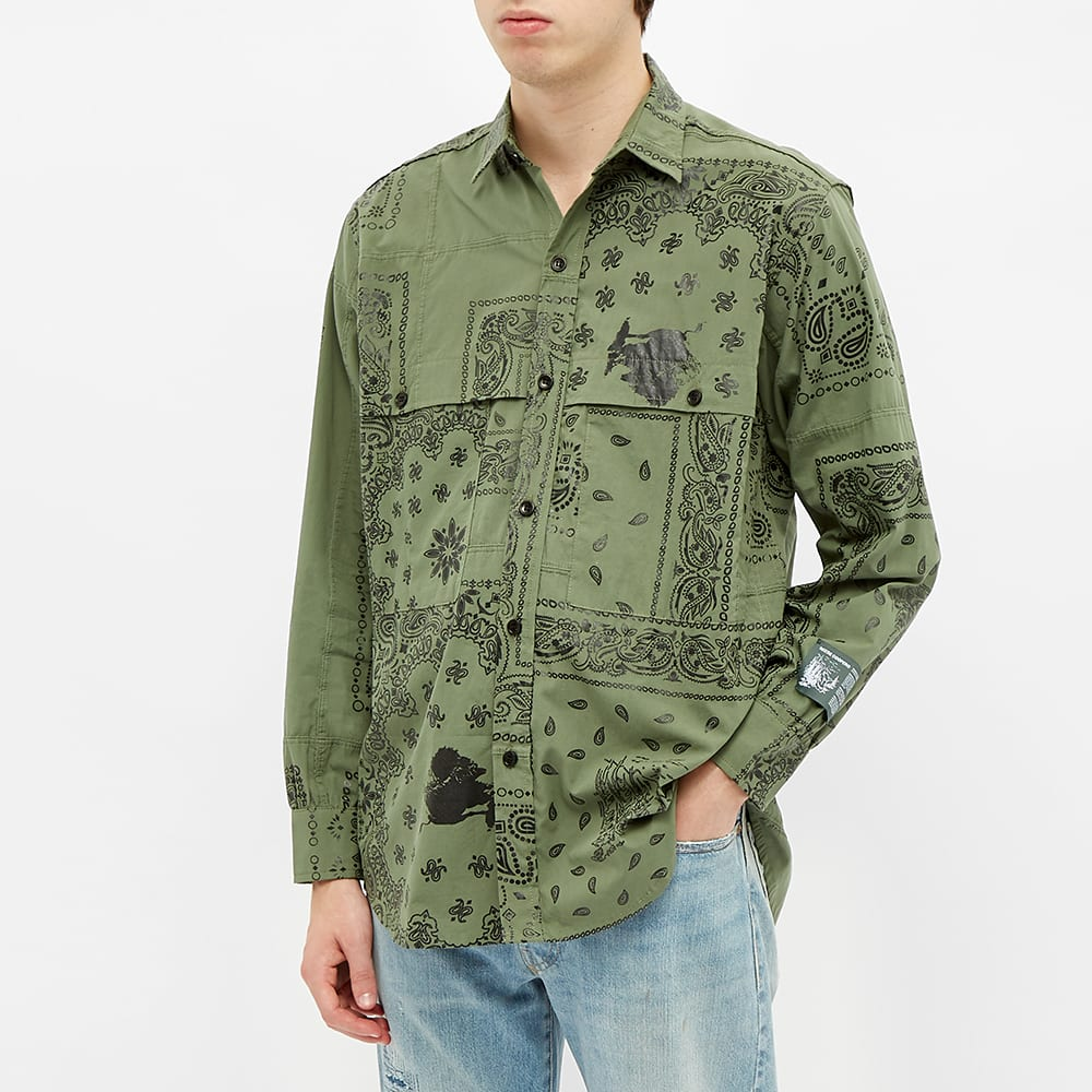 Reese Cooper Bandana Patch Button Down Shirt - Sage