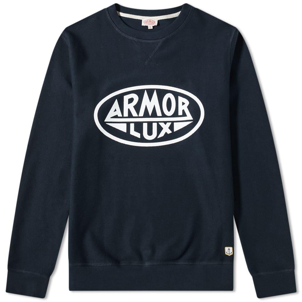 Armor-Lux Circle Logo Crew Sweat - Rich Navy