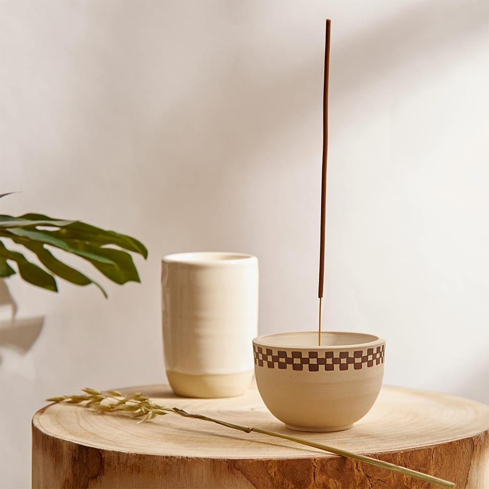 Mellow Ceramics Incense Bowl - Medium - Half Check Porcelain