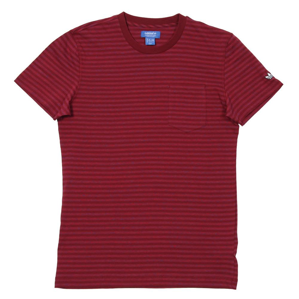 Adidas Premium Basics Stripe Tee - Cardinal