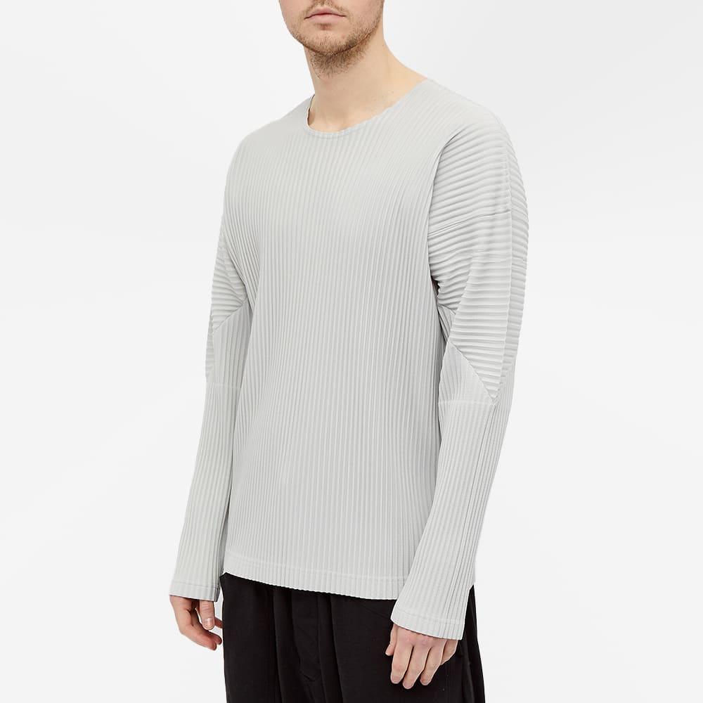 Homme Plissé Issey Miyake Long Sleeve Pleated Tee - Light Grey