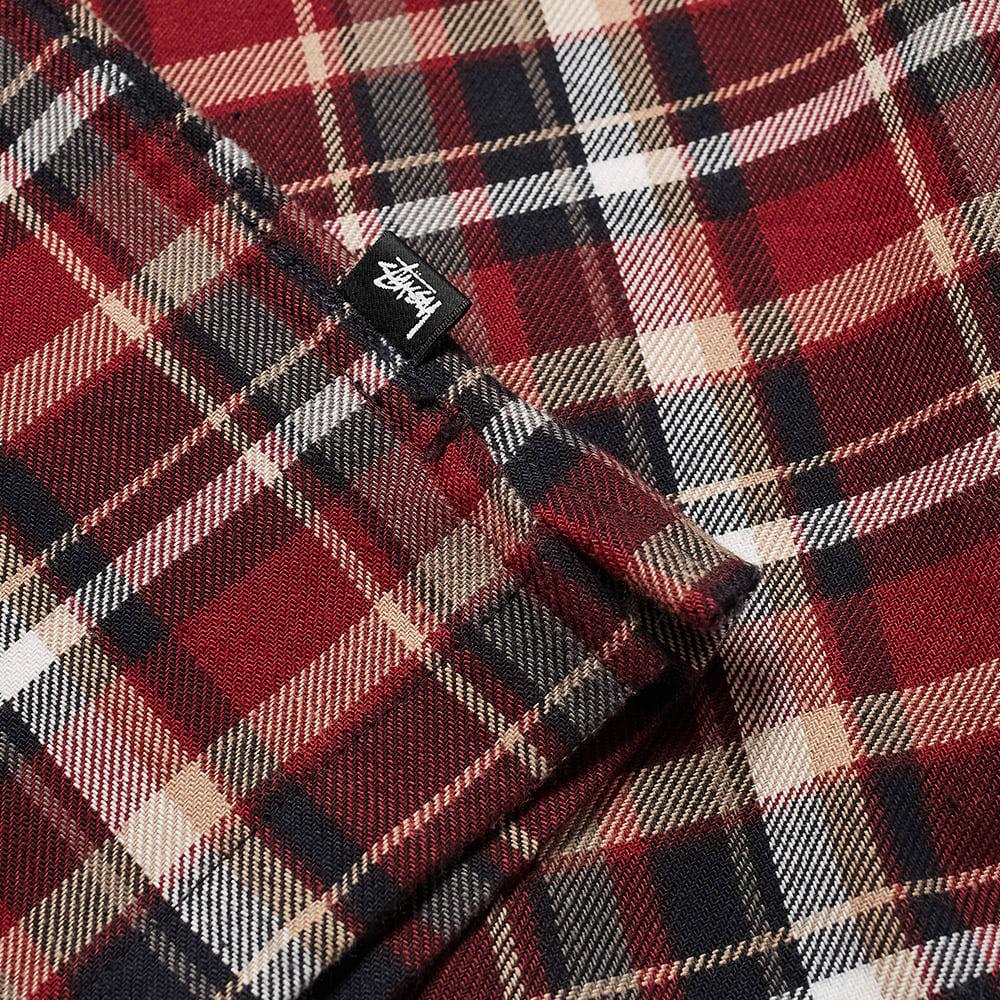 Stussy Classic Zip Up Plaid Shirt - Maroon