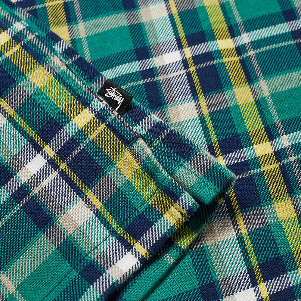 Stussy Classic Zip Up Plaid Shirt - Green