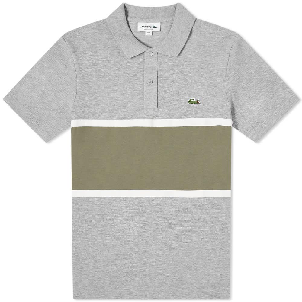 Lacoste Colour Block Polo - Grey & Khaki