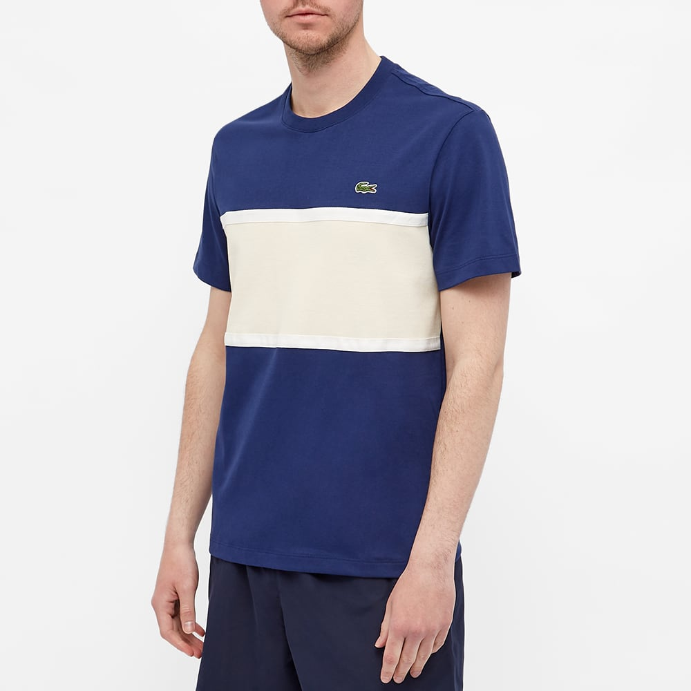 Lacoste Colour Block Tee - Navy & Natural