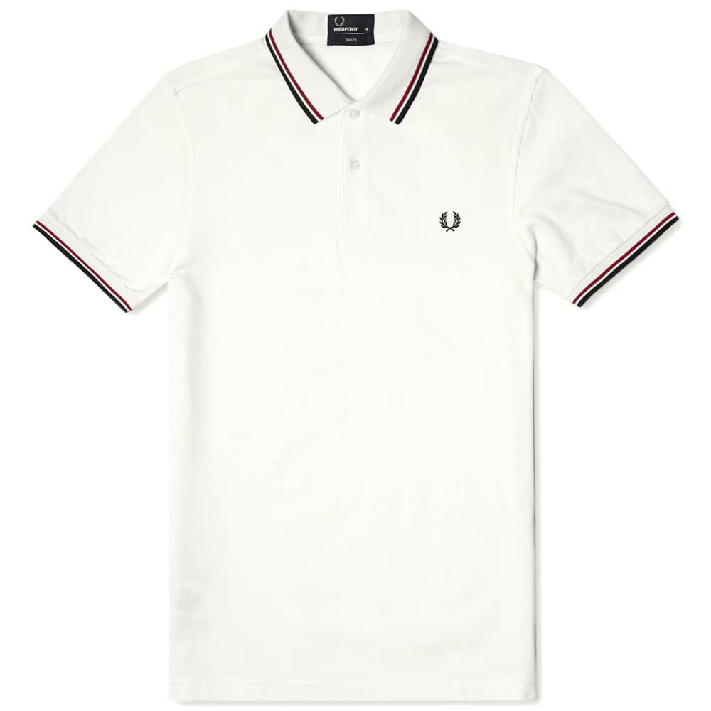 Fred Perry Slim Fit Twin Tipped Polo - White & Bright Red