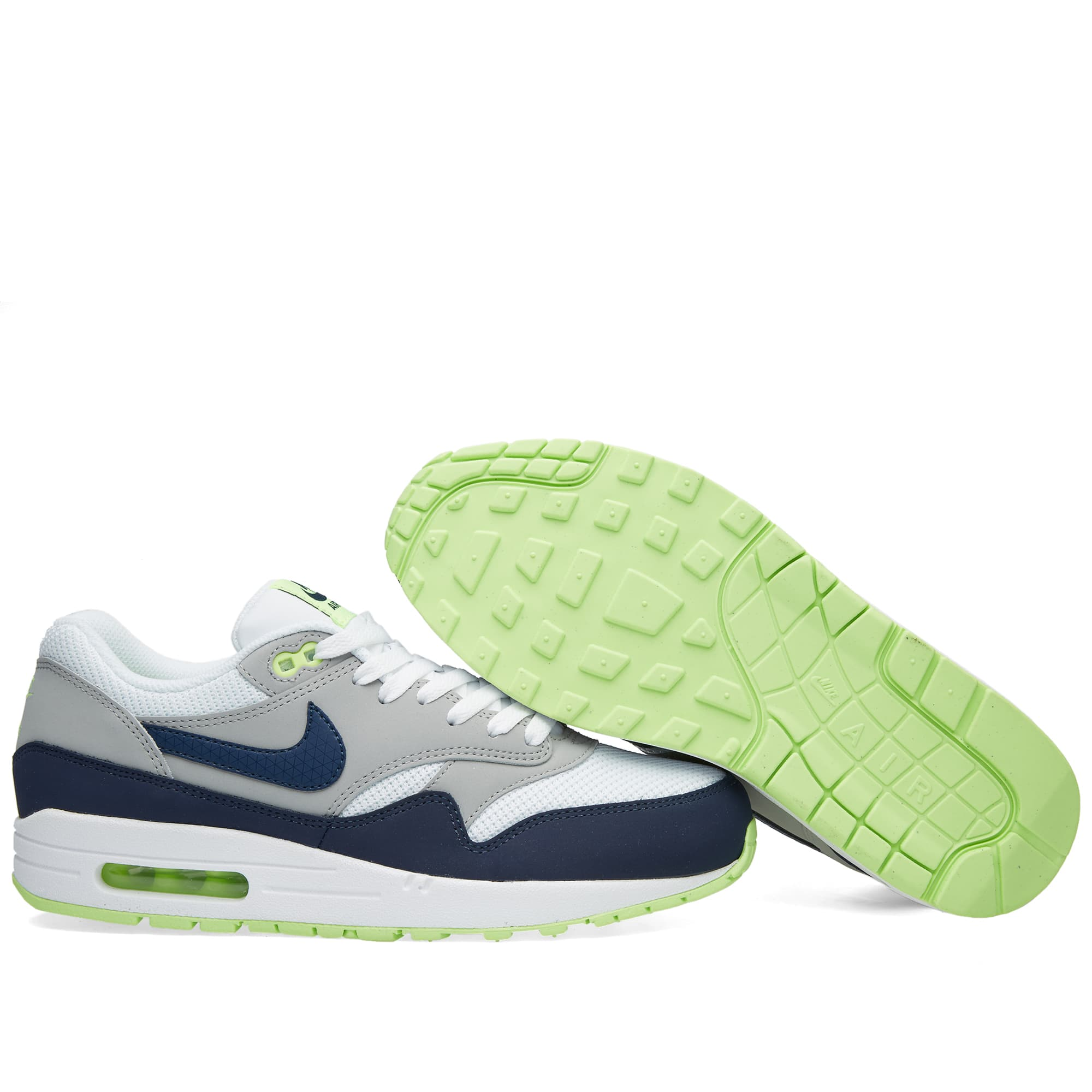 difícil Cambiarse de ropa Electropositivo  Nike Air Max 1 Essential White, Midnight Navy & Silver | END.