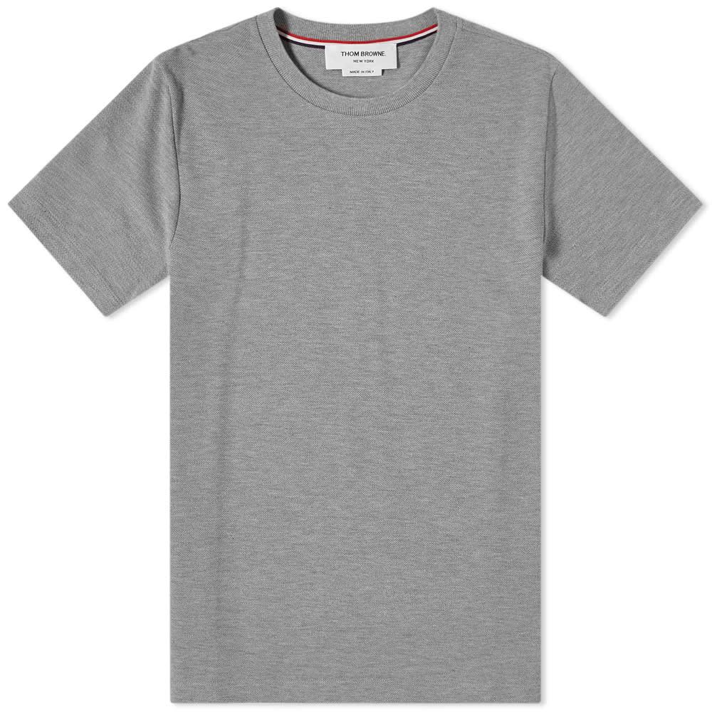 Thom Browne Side Four Bar Pique Tee - Light Grey