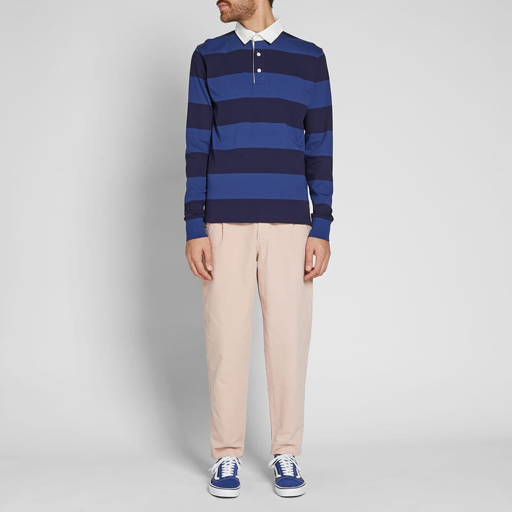 Armor-Lux 76886 Long Sleeve Stripe Rugby Shirt - Blue & Indigo