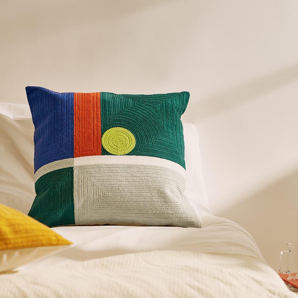 Dusen Dusen Cushion Cover - Green, Blue & Red