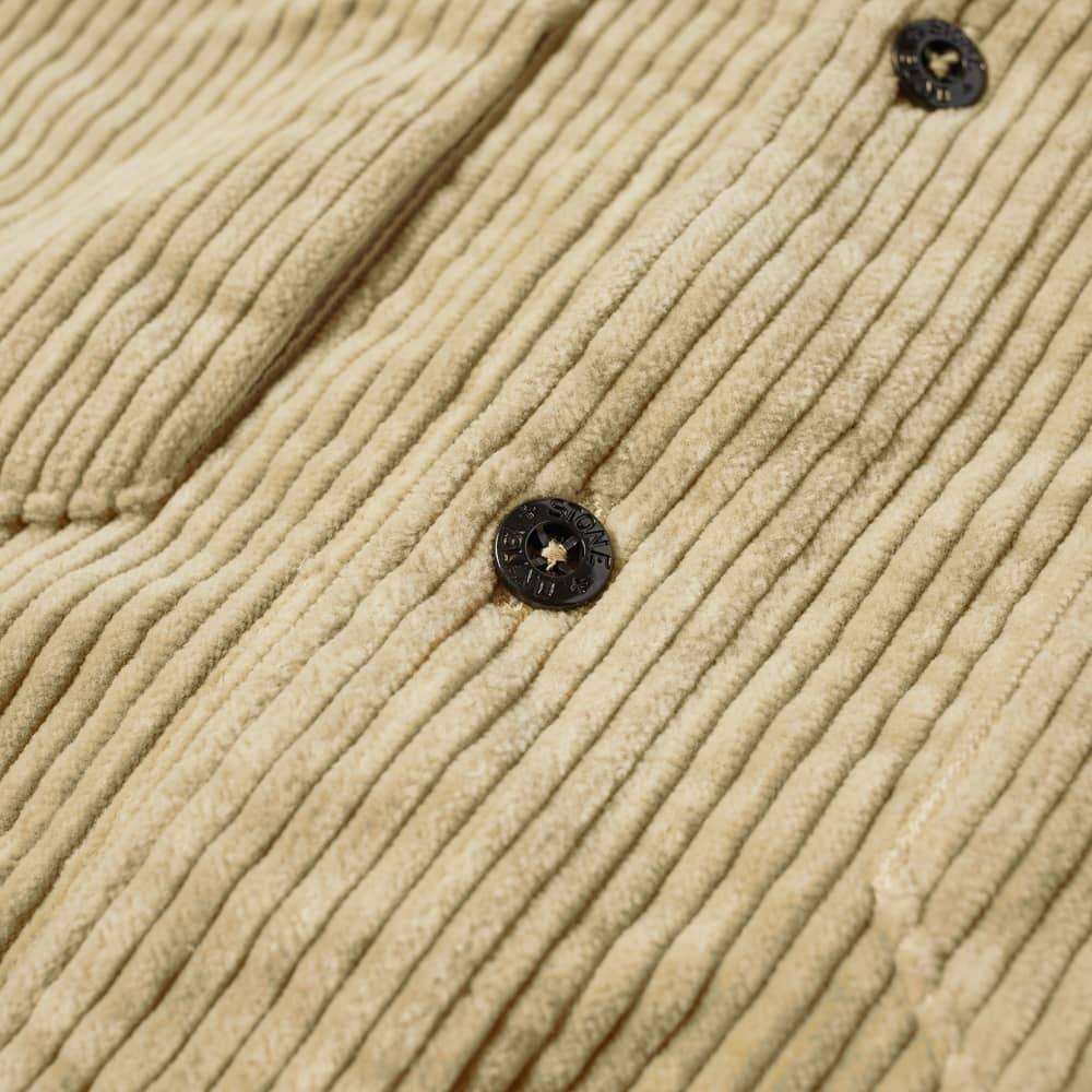 Stone Island Compass Sleeve Cord Shirt - Ecru