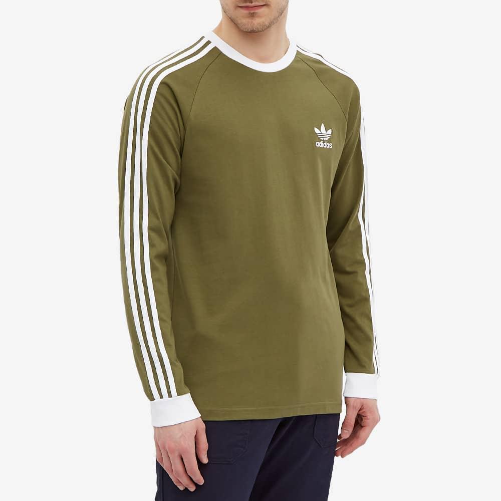 Adidas Long Sleeve 3 Stripe Tee - Focus Olive