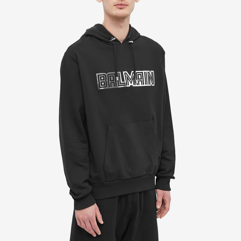 Balmain Paris Logo Metallic Popover Hoody - Black