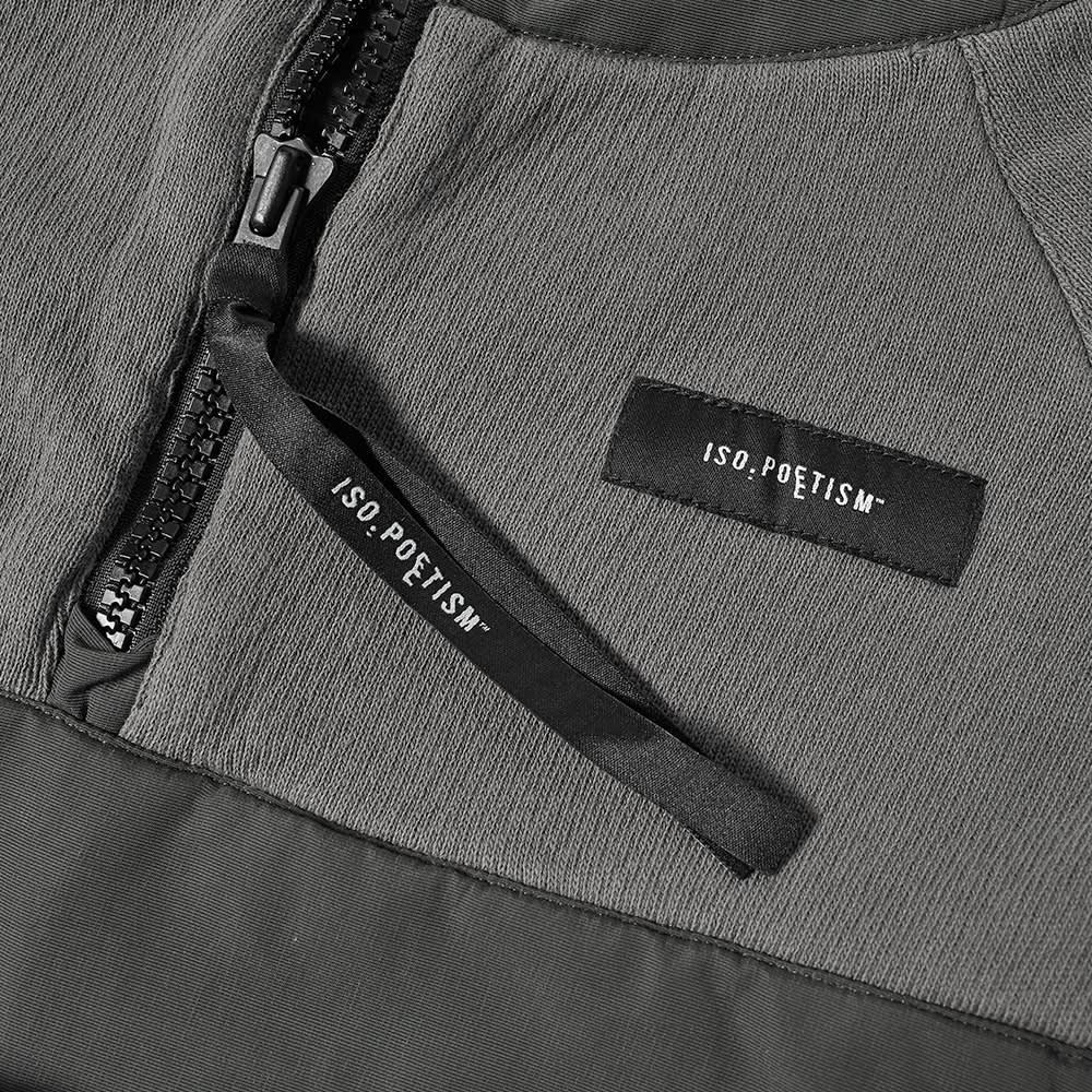 Tobias Birk Nielsen Mixed Fabric Quarter Zip Hoody - Anthracite