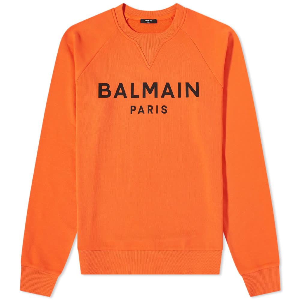 Balmain Paris Logo Crew Sweat - Orange