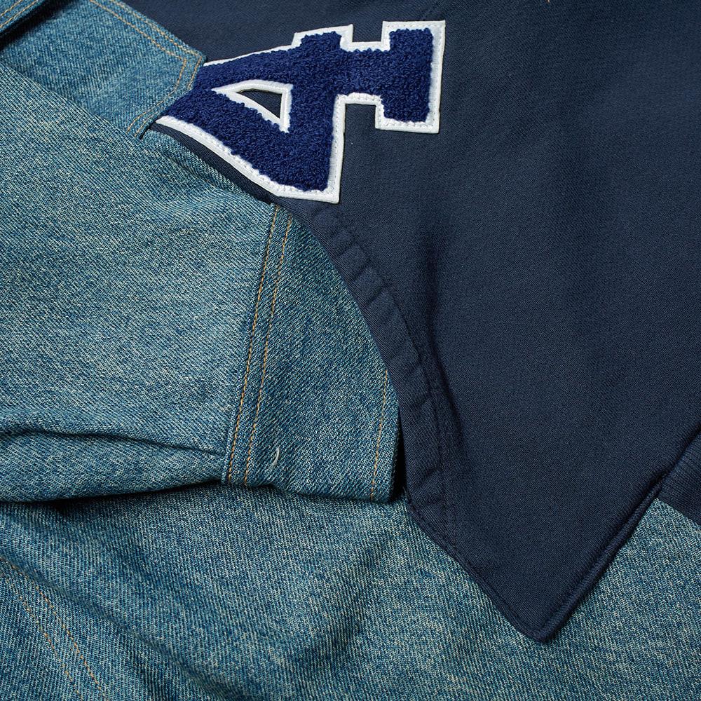 424 Reworked Denim Hooded Workshirt - Blue