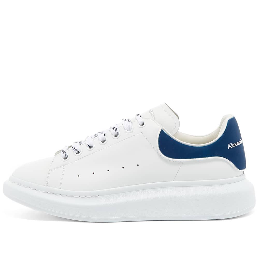 Alexander McQueen Heel Tab Wedge Sole Sneaker - White & Paris Blue