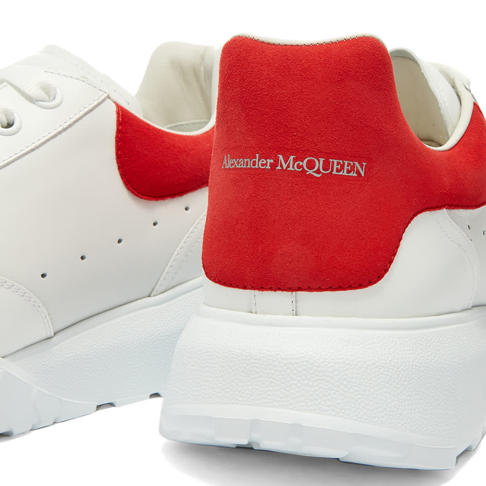 Alexander McQueen Suede Heel Tab Court Wedge Sole Sneaker - Optic White & Lust Red
