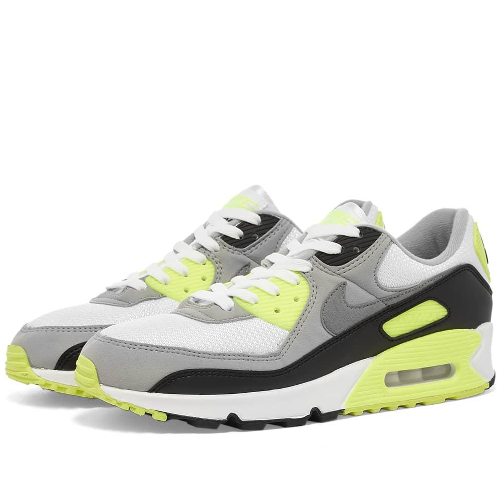 Nike Air Max 90 White, Grey \u0026 Volt   END.