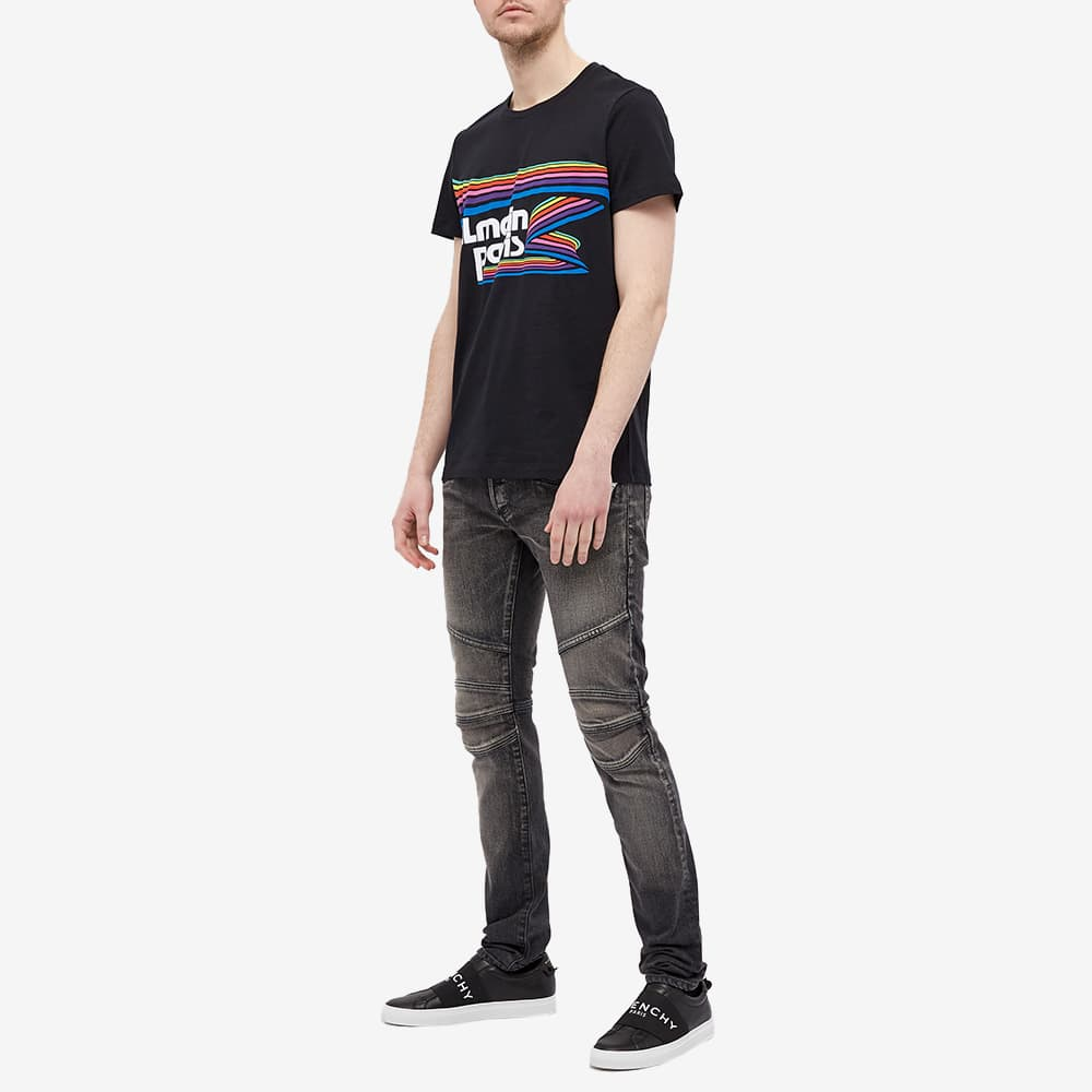 Balmain Rainbow Logo Print Tee - Multi
