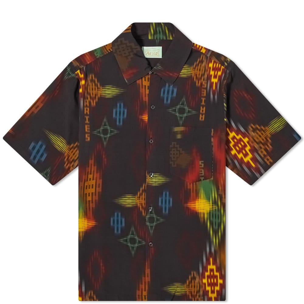 Aries Ikat Print Hawaiian Shirt - Black