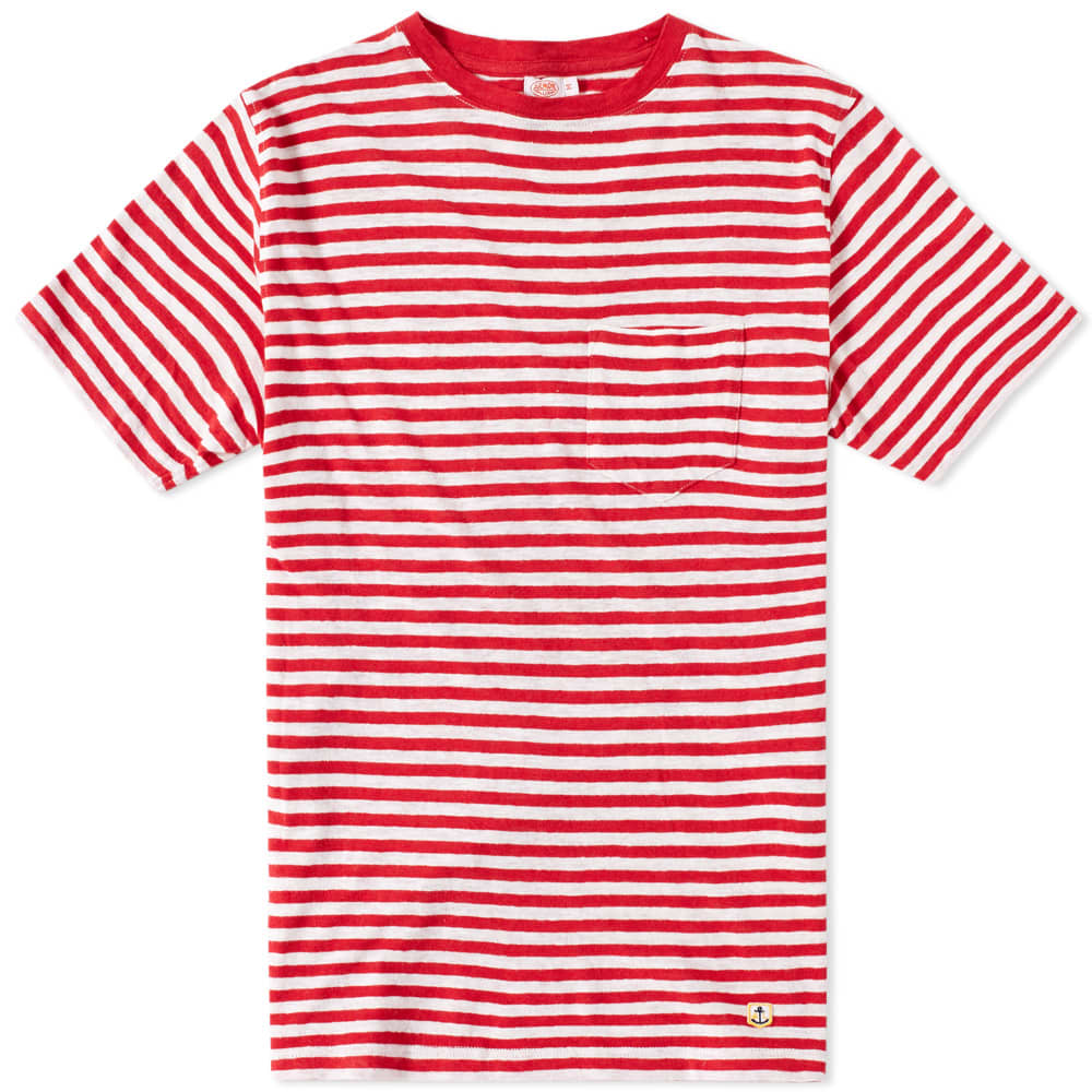 Armor-Lux 71197 Stripe Pocket Tee - Red & Natural