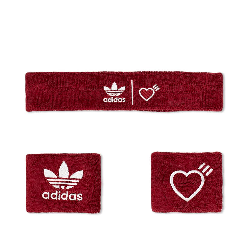 Adidas x Human Made Wristbands & Headband - Burgundy & White