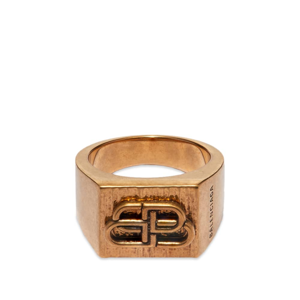 Balenciaga Textured BB Ring - Antique Gold