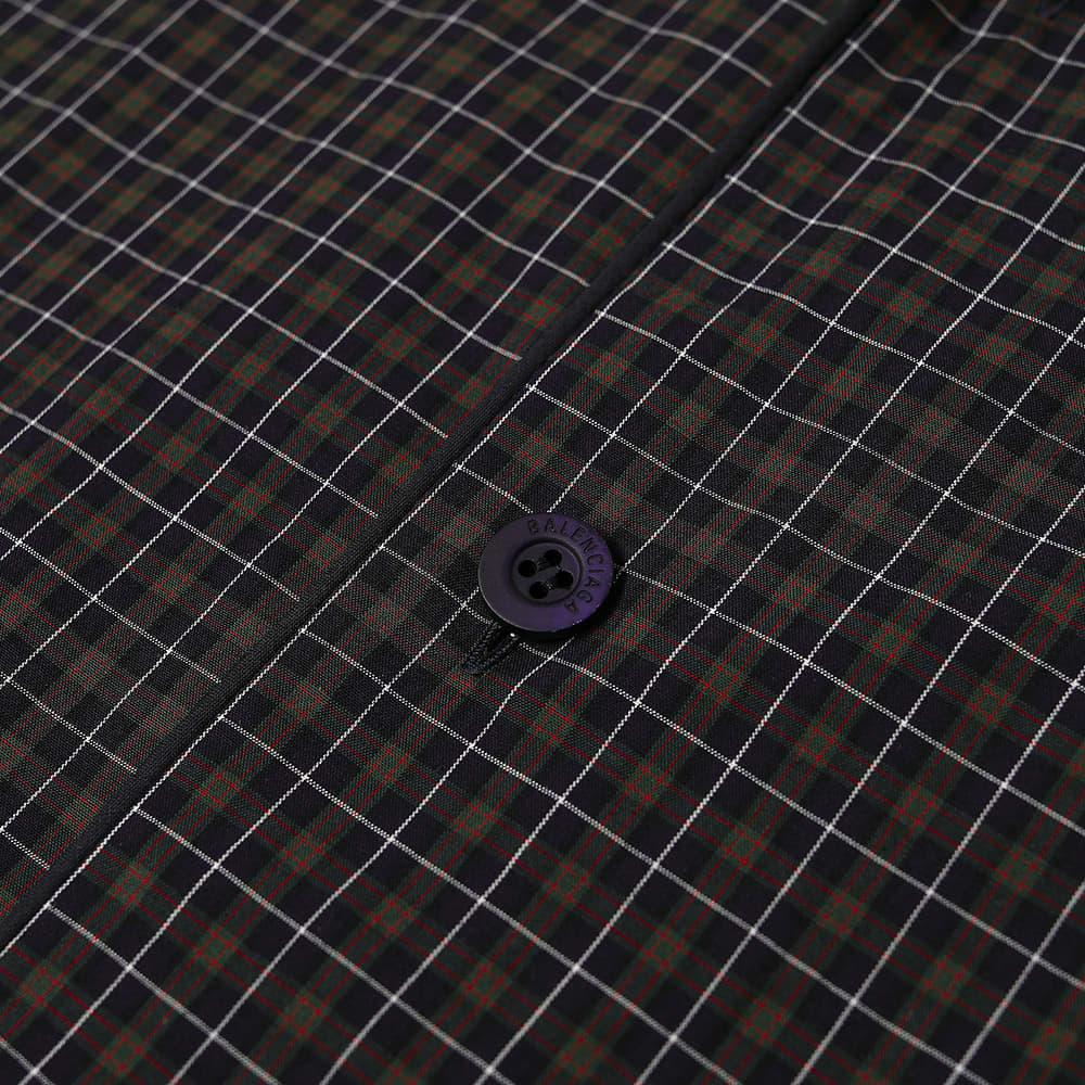 Balenciaga Short Sleeve Embroidered Pocket Check Logo Vacation Shirt - Dark Navy & Khaki