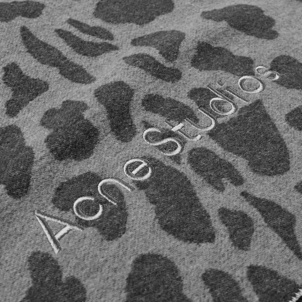 Acne Studios Varda Animalier Scarf - Grey & Black