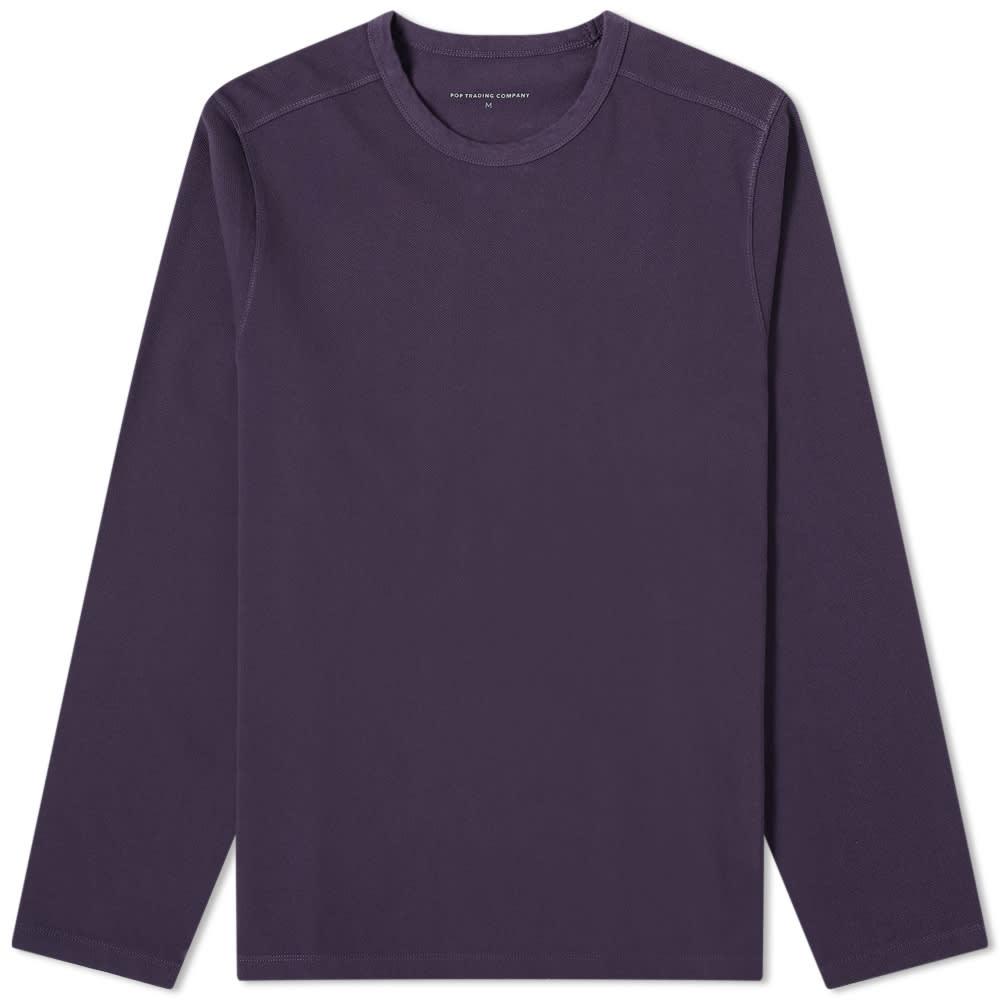 Pop Trading Company Long Sleeve Pique Logo Tee - Dark Purple