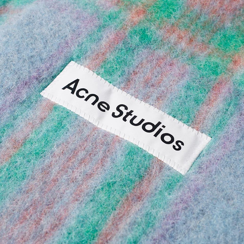 Acne Studios Vally Tartan Scarf - Light Blue