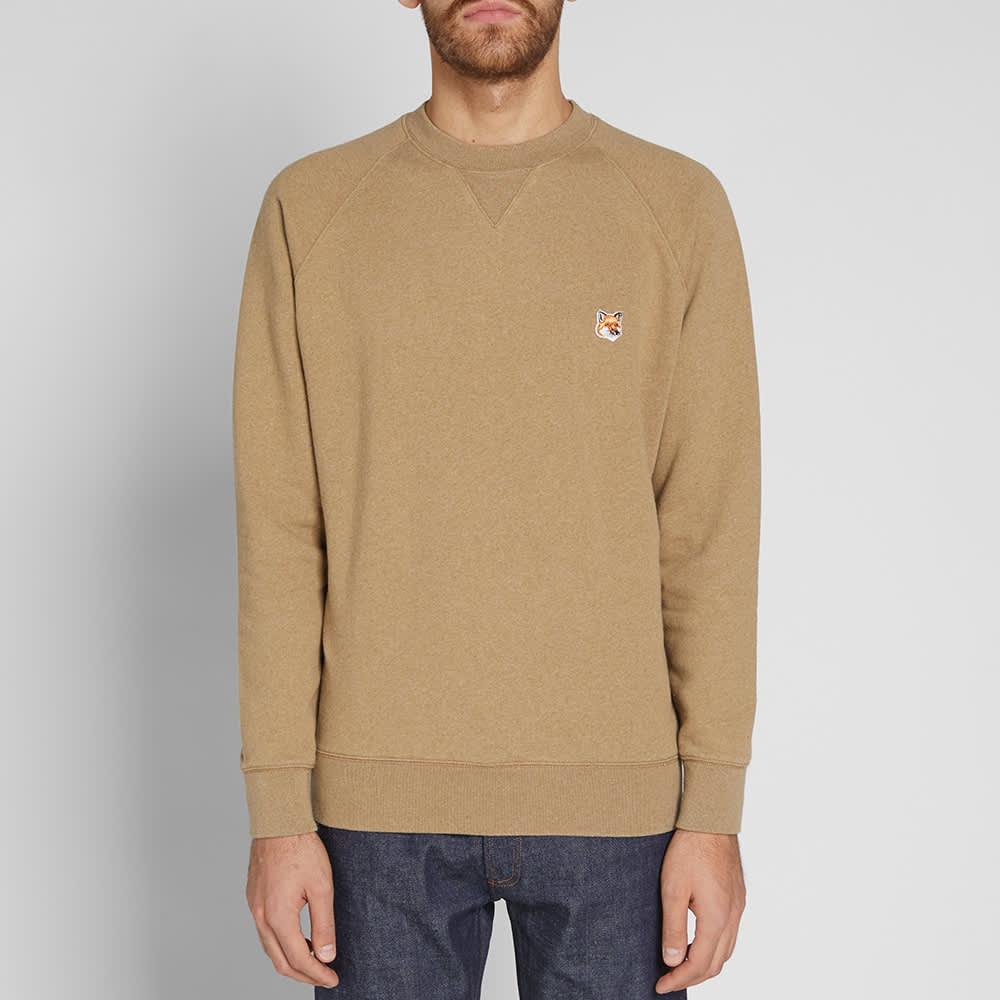 Maison Kitsuné Fox Head Patch Sweater - Beige Melange