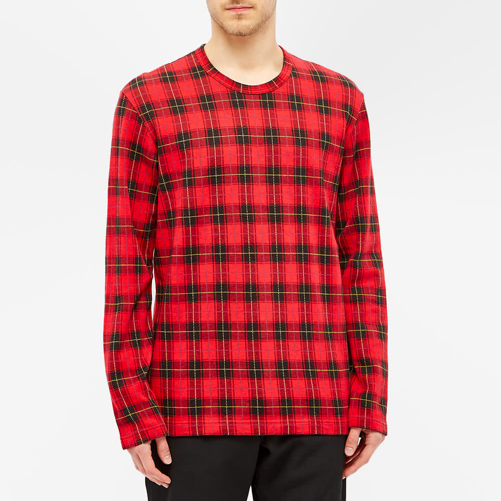 Comme des Garcons Homme Plus Long Sleeve Tartan Tee - Red