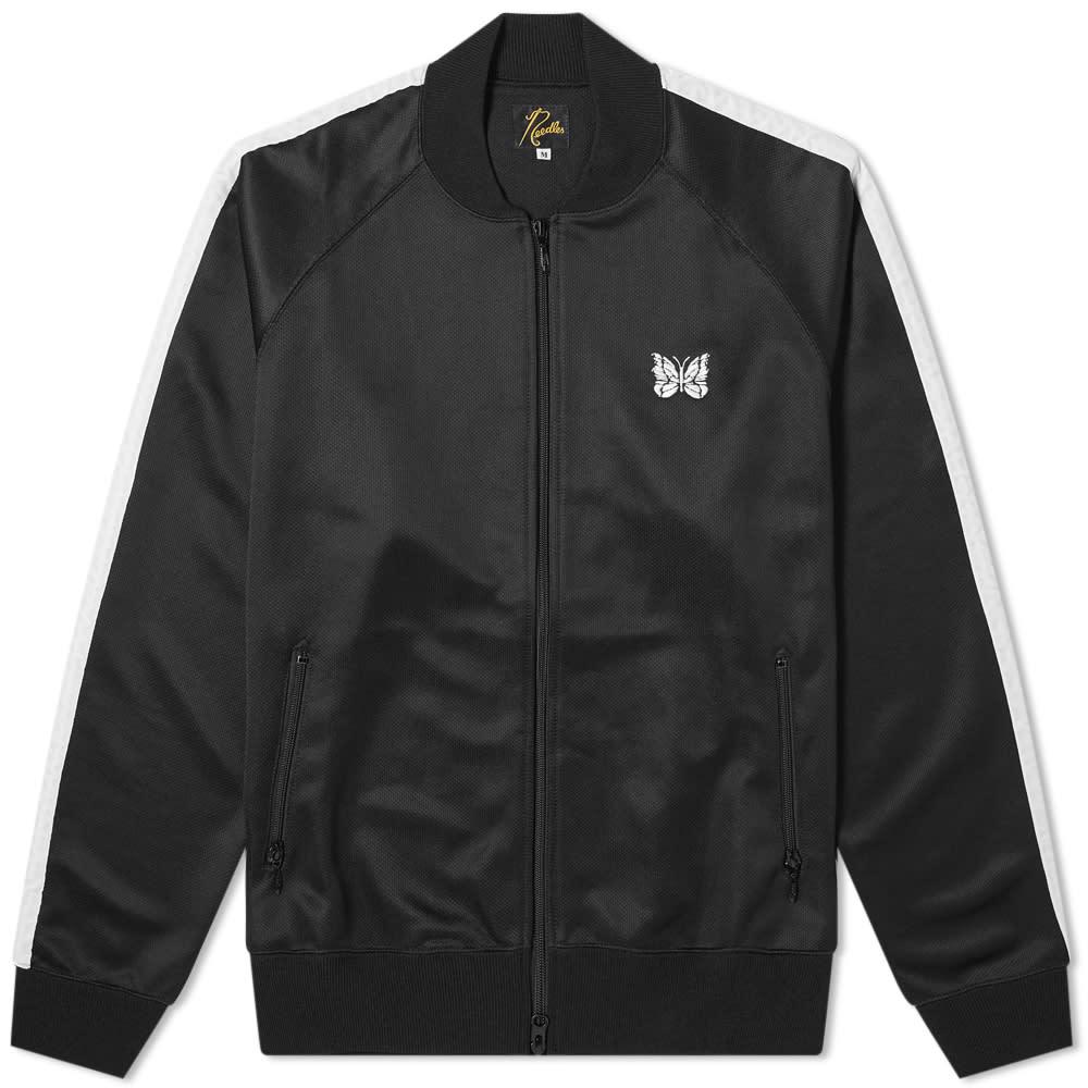 Needles Ribbed Collar Bomber Jacket - Black & White